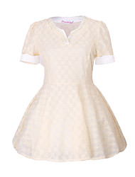 Women's Lace White / Almond Dress , Lace V Neck Short Sleeve