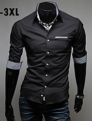 Men's Plus Size Long Sleeve Shirt, Others Casual Pure