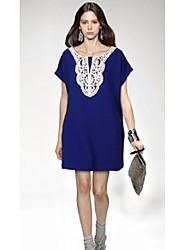 Robes ( Coton / Dentelle ) Informel / Soirée Rond à Manches courtes pour Femme