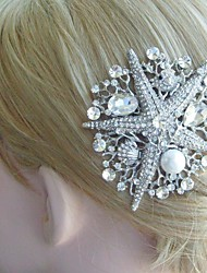 Wedding Headpiece Silver-tone Rhinestone Crystal Starfish Hair Comb Bridal Hair Comb Bridal Hair Accessories