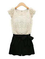 SEXY Women's Color Block / Lace White Jumpsuit , Vintage / Sexy / Casual / Work Round Short Sleeve