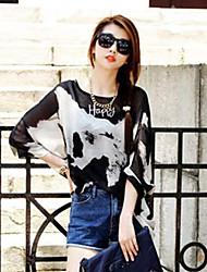 Women's Print Black Blouse , Round Neck ¾ Sleeve