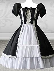 Long Sleeve Floor-length Beige Foral Cotton Sweet Lolita Dress