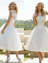 WEILL  Women's Lace / Solid Color White Dresses , Vintage / Sexy / Casual / Party Round Sleeveless