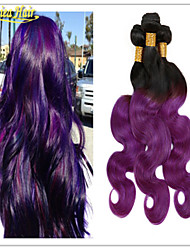 Hair Products Two Tone Color 1B/Purple, Brazilian Ombre Human Hair Extensions,8A Body Wave 3pcs lot Free Shipping