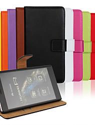 couleur unie élégant véritable cuir flip cas de fente de carte couverture de portefeuille avec le stand pour Huawei Huawei p7mini p7 p8