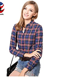 U&Shark New Hot! Women's  British Style Leisure Sanding Plaid Lady Long Sleeve Shirt with Blue Black Red Checks