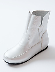 Women's Boots Spring / Fall / Winter Fashion Boots / Flats Leatherette  / Casual Flat Heel OthersBlack / White /