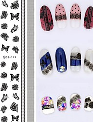 Big Page Water Transfer Printing Black Lace Rose Nail Stickers