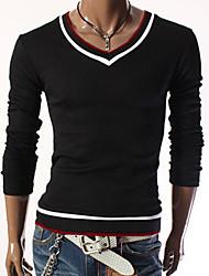 Men's V-Neck T-Shirts , Cotton Blend Long Sleeve Casual Fashion Fall Aman