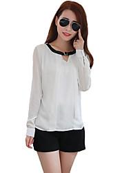 Women Shirt Belt Neck Long Sleeve Keyhole Button Formal Casual Blouse Tops