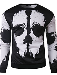 WTLE Men's Round T-Shirts , Cotton / Cotton Blend Long Sleeve Casual Fashion Spring / Fall WTLE