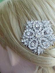 Wedding Headpiece Bridal Hair Jewelry Wedding Hair Comb Silver-tone Rhinestone Crystal Flower Hair Comb Bridal Hair Comb