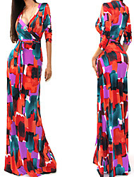 family  Women's Print Multi-color Dresses , Sexy / Party V-Neck ½ Length Sleeve