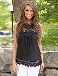 SEXY Women's Color Block / Lace White / Black Tops & Blouses , Vintage / Sexy / Casual / Work Round Sleeveless