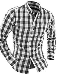 Men's Plaids Casual / Work Shirt,Cotton Long Sleeve Red / Gray