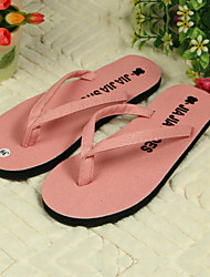 Women's Shoes PVC Flat Heel Flip Flops Slippers Outdoor Black / Pink / Red / White