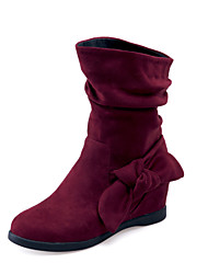 Women's Shoes Fleece Wedge Heel Wedges/Fashion Boots/Round Toe Boots Dress/Casual Black/Red/Navy