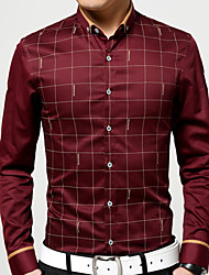 Men's Long Sleeve Shirt , Cotton Casual/Work/Formal Plaids & Checks