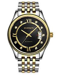 homens guanqin relógio automático de auto-liquidação diomand 100m impermeável calendário de safira do relógio de aço 37,5 milímetros de