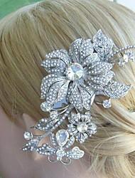 Bridal Headpiece Wedding Hair Comb 5.12 Inch Silver-tone Clear Rhinestone Crystal Flower Hair Comb Bridal Hair Comb