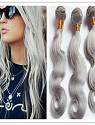 3Pcs/Lot Cheap Silver Grey Brazilian Virgin Hair Weft Body Wave Human Hair Weaves 100G/Pc Wholesale 8-34Inches In Stock