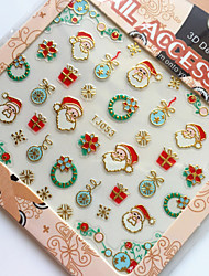 3D Gilding Christmas Series Wreath Nail Art Stickers