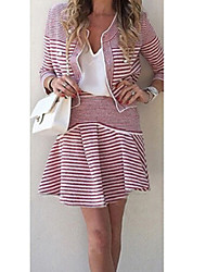 SEXY Women's Striped Pink Suits , Vintage / Sexy / Casual / Work Round Long Sleeve