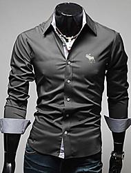 Masculino Camisa Casual / Escritório / Formal / Tamanhos Grandes Cor Solida Manga Comprida Algodão Preto / Azul / Cinza