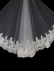 Ivory Vintages Bridal Tulle Wedding Veil One-tier Cathedral Veils Lace Applique Edge