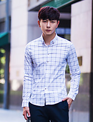 Men's Long Sleeve Cotton Casual Plaids & Checks