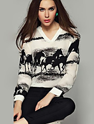 Women's Casual/Daily Simple Fall Blouse,Animal Print V Neck Long Sleeve Black Opaque