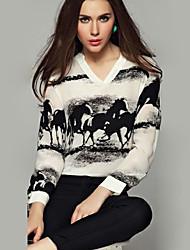 Women's Animal Black Blouse , V Neck Long Sleeve