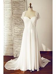 A-line Wedding Dress - Ivory Court Train Queen Anne Chiffon