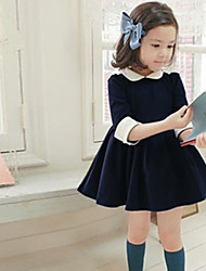 Girl's Cotton/Polyester Sweet Leisure  Short Sleeve  Dress