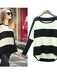 LTT    Women's Striped Multi-color T-Shirts , Casual Round Long Sleeve