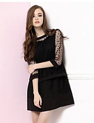 Women's Lace White / Black Dress , Lace Round Neck ½ Length Sleeve