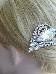 Bridal Headpiece Wedding Hair Comb Bridal Hair Comb Silver-tone Clear Rhinestone Crystal Flower Hair Comb