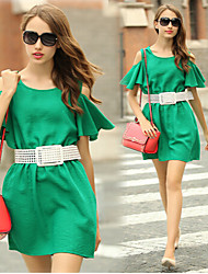 Women's Solid Color Green Dresses , Work Round Bootcut
