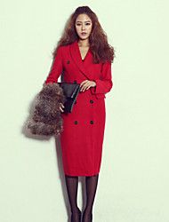 Women's Solid Red Coat , Casual Long Sleeve Cotton Blends