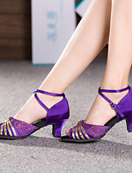 Non Customizable Women's Dance Shoes Latin Satin Cuban Heel Brown/Purple