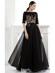 TS Couture® Formal Evening / Black Tie Gala Dress Plus Size / Petite A-line Bateau Floor-length Lace / Tulle with Flower(s) / Lace