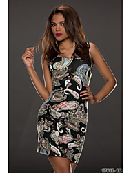 Topro Floral Printed Bodycon Bandage Sleeveless Summer Dress 9109