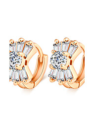 Ya Ge Women's Fashion Exquisite Gold-Plated Zirconium White Shiny Earrings
