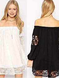 Women's Lace White/Black Plus Size Dresses , Sexy/Lace Off-the-shoulder Long Sleeve