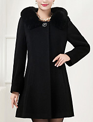 Women's Plus Size Coat,Solid Shirt Collar Long Sleeve Winter Blue / Black Wool / Others Thick