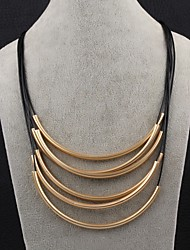 Necklace Statement Necklaces Jewelry Party / Daily Leather / Copper / Gold Plated Gold / Black 1pc Gift