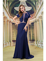 Formal Evening Dress - Dark Navy Sheath/Column Jewel Sweep/Brush Train Satin