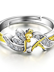 925 Sterling Silver Gold-plated Jewelry Flower Fairy Women Ring
