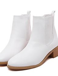 Zapatos de mujer - Tacón Bajo - Tacones / Plataforma / Punta Redonda - Botas - Vestido - Semicuero - Negro / Blanco